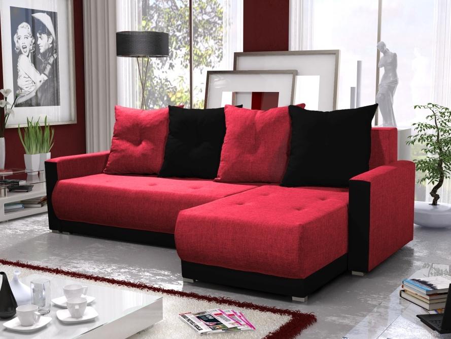 Smartshop Rohová sedačka INSIGNIA BIS 2, červená/černá