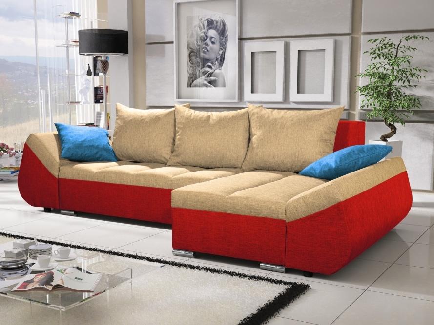 Smartshop Rohová sedačka KORFU 10, krémová/červená