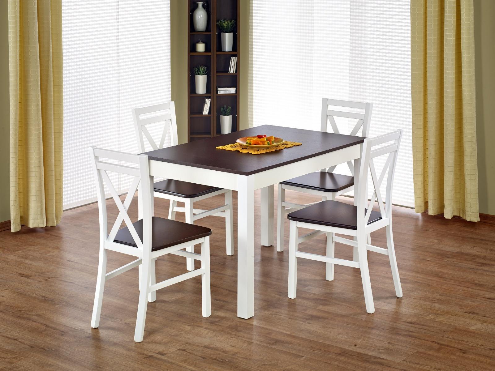 Halmar Jídelní stůl rozkládací MAURYCY, ořech tmavý/bílá