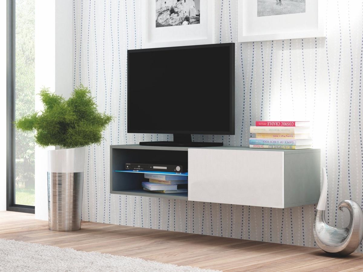Halmar LIVO RTV-120W televizní stolek visící, šedá/bílá