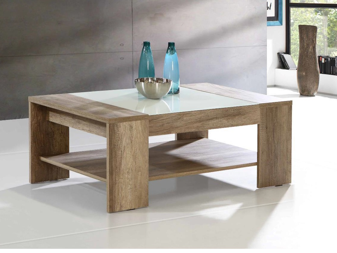 Forte BRADY, konferenční stolek, dub antický/bílé sklo - DOPRODEJ