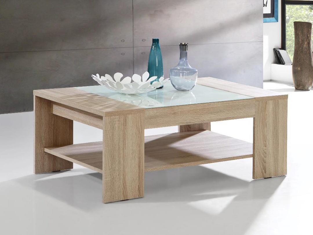 Forte BRADY, konferenční stolek, dub sonoma/bílé sklo