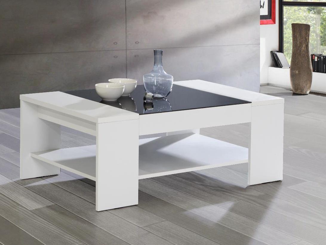 Forte BRADY, konferenční stolek, bílá/černé sklo