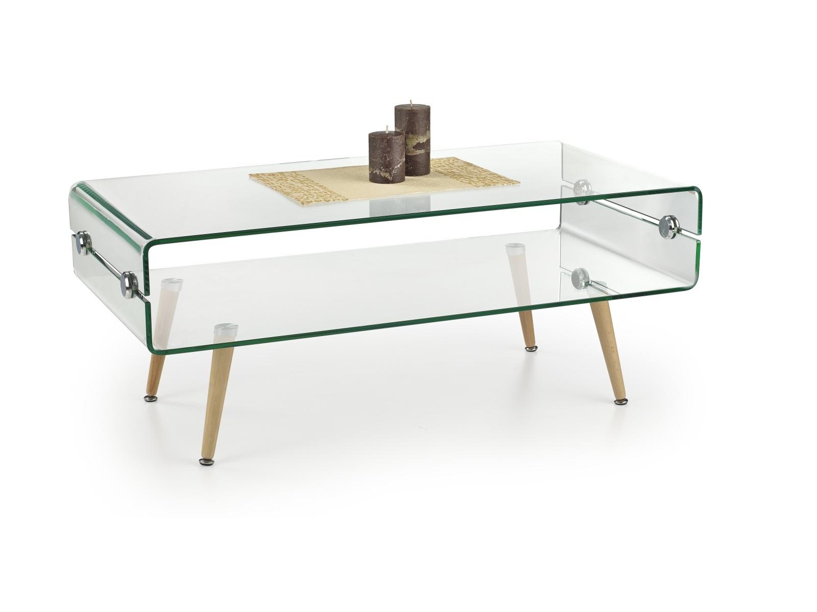 Halmar Konferenční stolek MIRANDA, sklo/masiv
