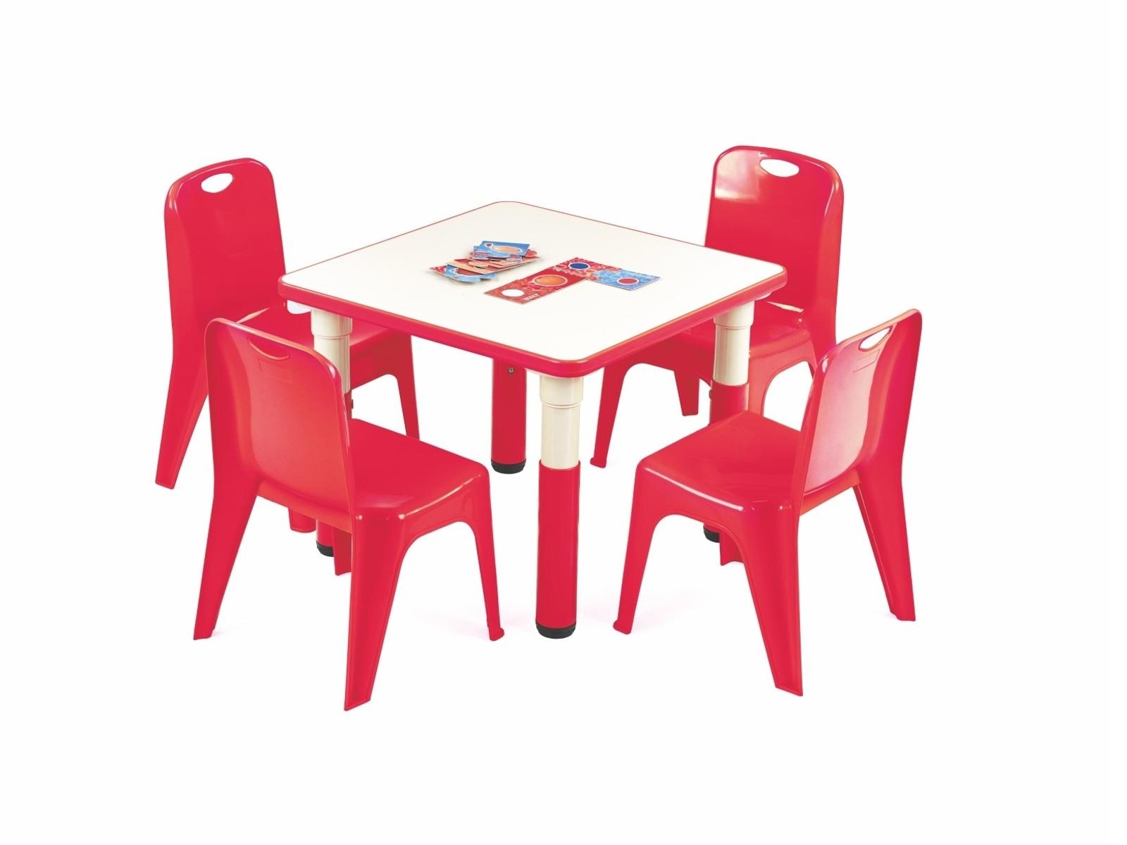 Halmar Dětský stůl SIMBA čtvercový, červená