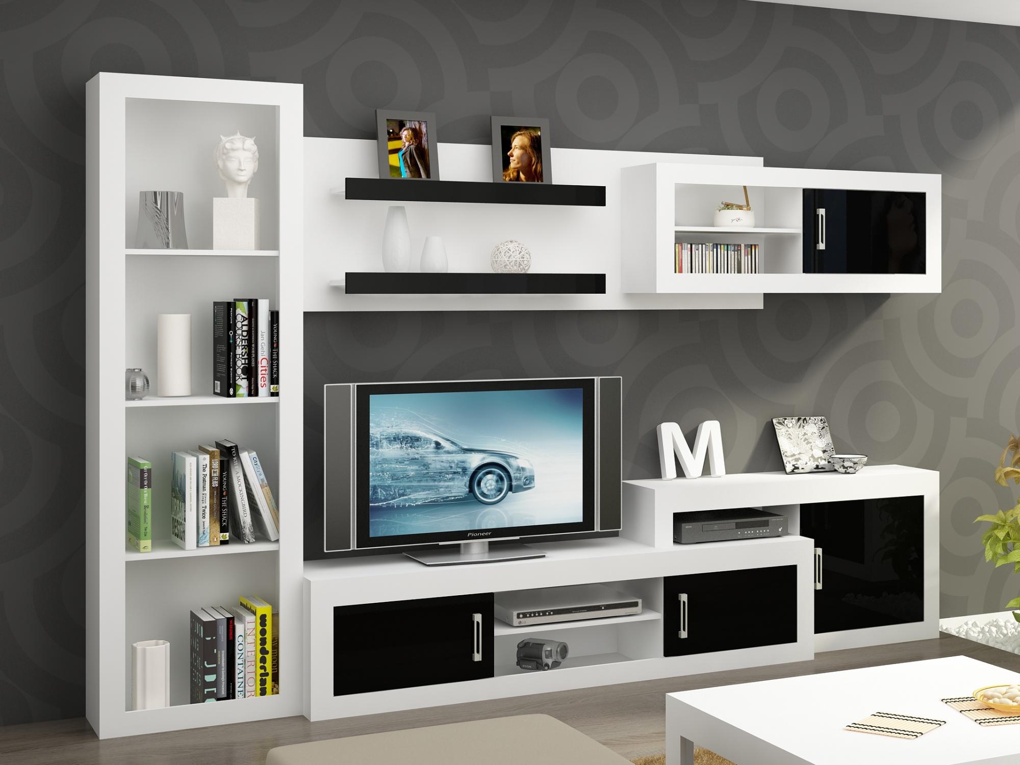 Obývací stěna VERIN 6, bílá/černý lesk
