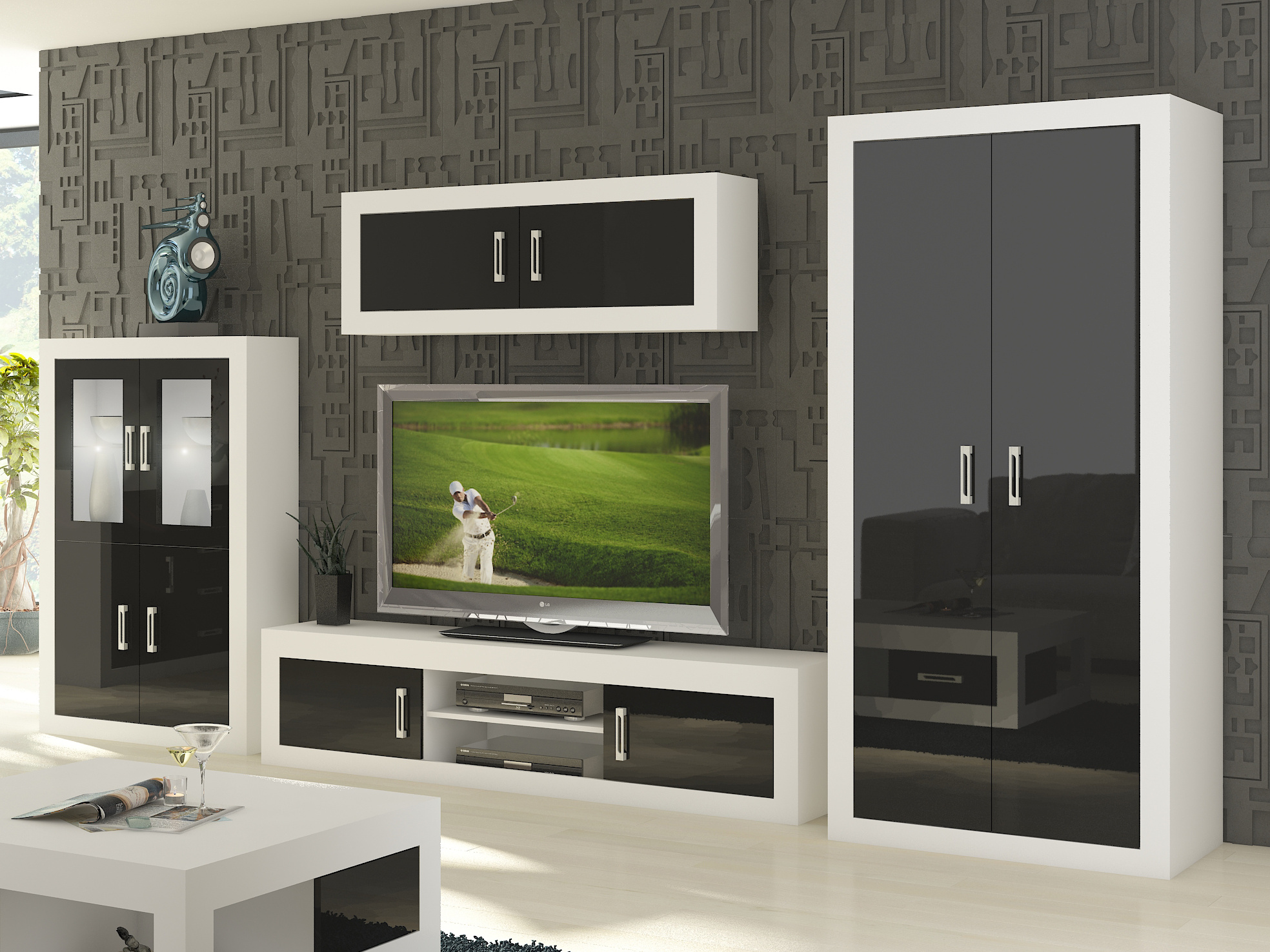 Obývací stěna VERIN 9, bílá/černý lesk