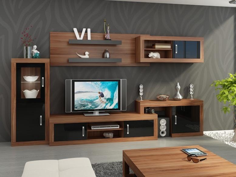 MORAVIA FLAT Obývací stěna VERIN 5, švestka wallis/černý lesk