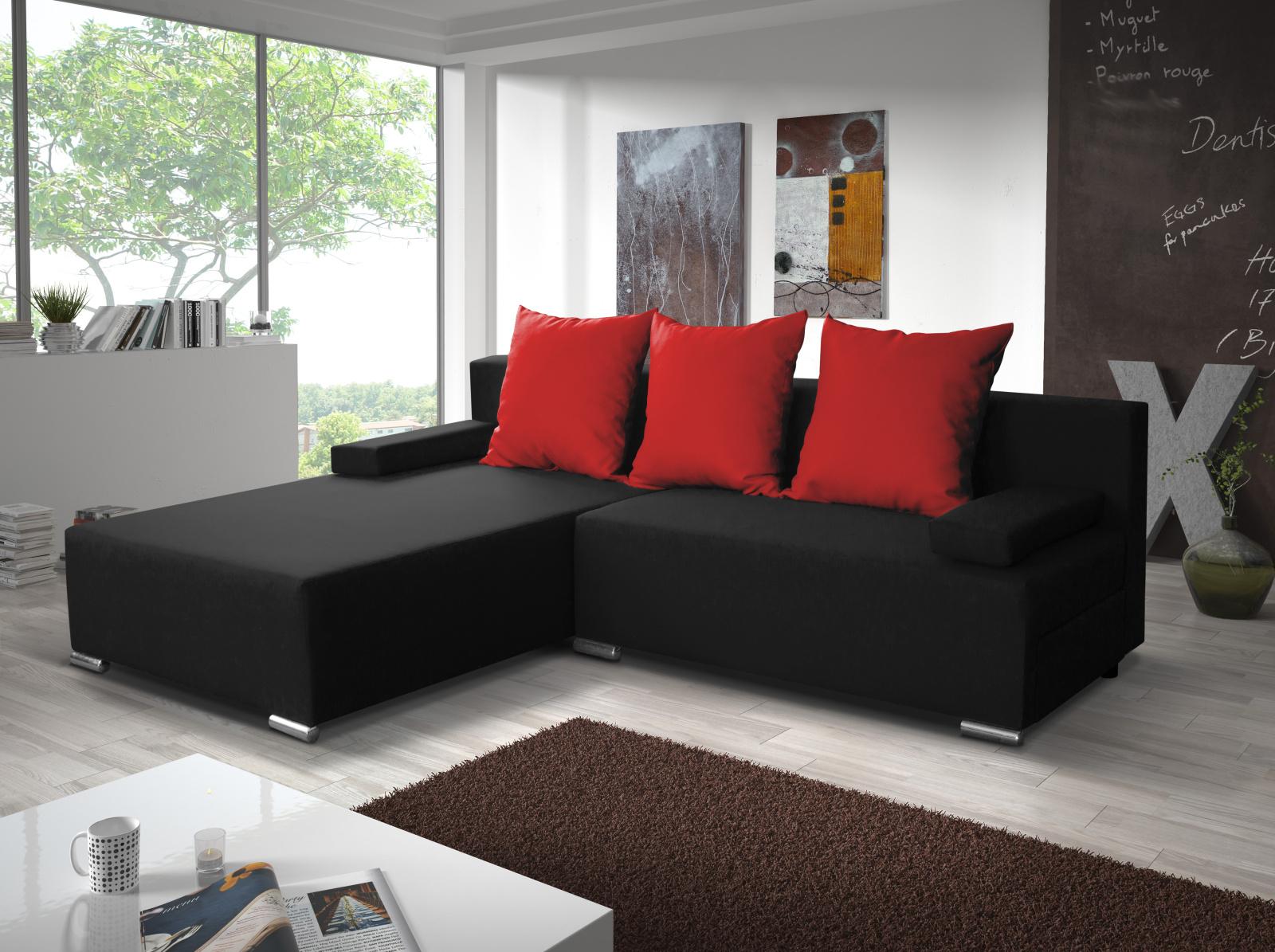 Smartshop Rohová sedačka CANDY 5, černá/červená