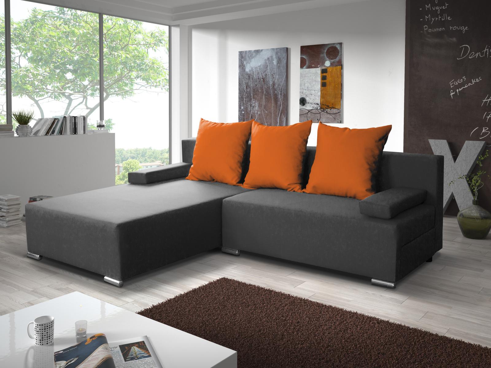 Smartshop Rohová sedačka CANDY 4, šedá/oranžová