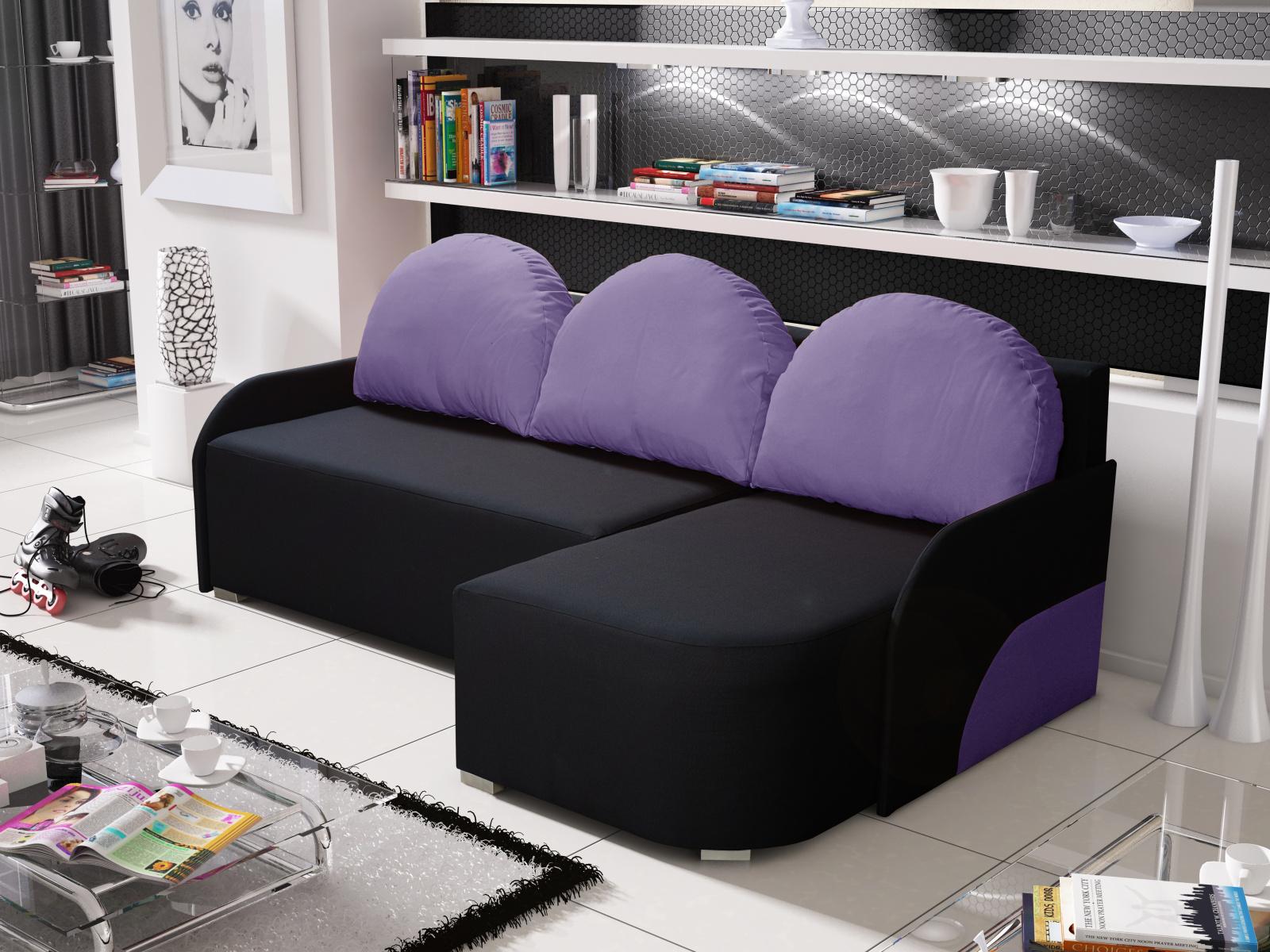 Smartshop Rohová sedačka KRIS 7 pravá, černá/fialová