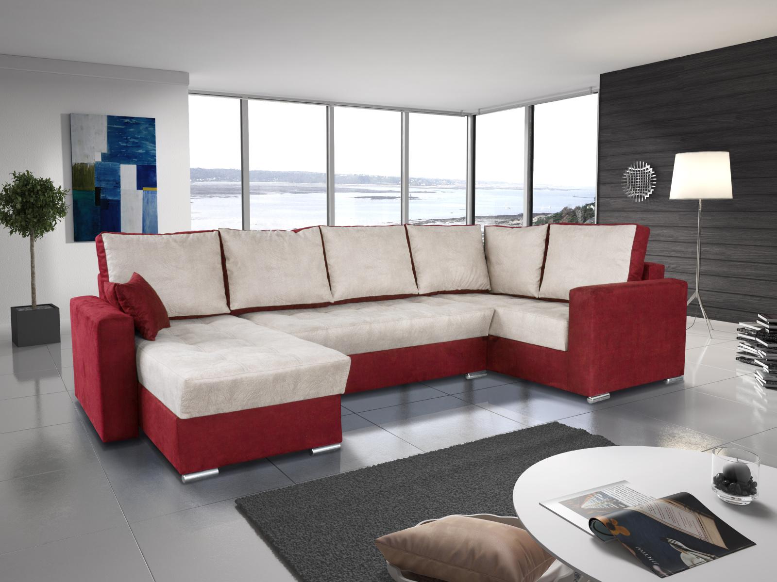 Smartshop Rohová sedačka LEONARDO 2 levá, šedá/červená