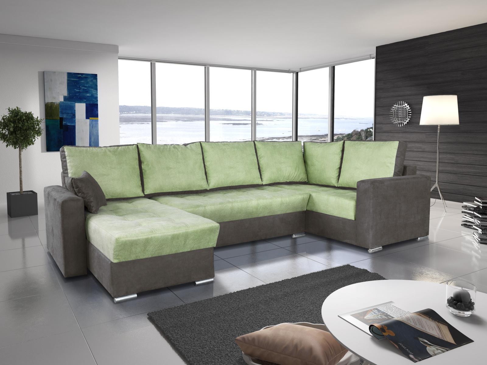 Smartshop Rohová sedačka LEONARDO 4 levá, zelená/šedá