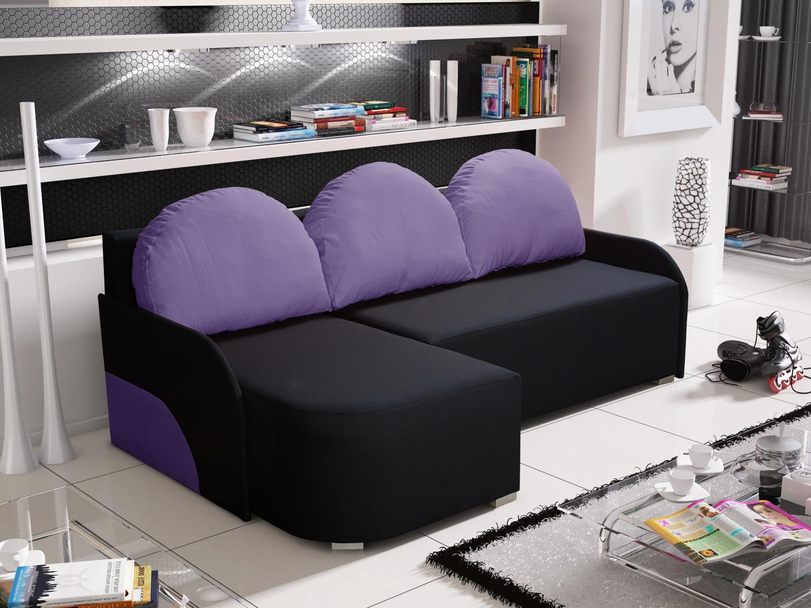 Smartshop Rohová sedačka KRIS 7 levá, černá/fialová