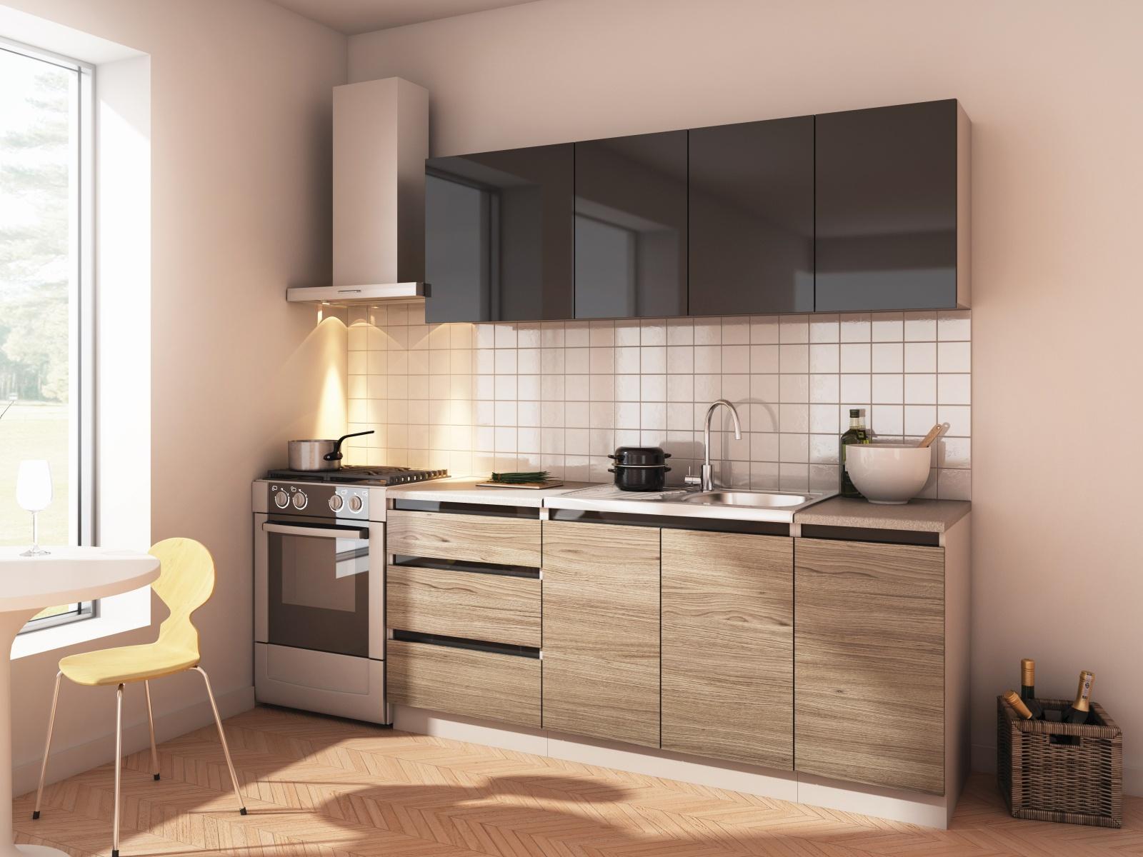 Smartshop Kuchyně STELLAR 180, antracit/dub