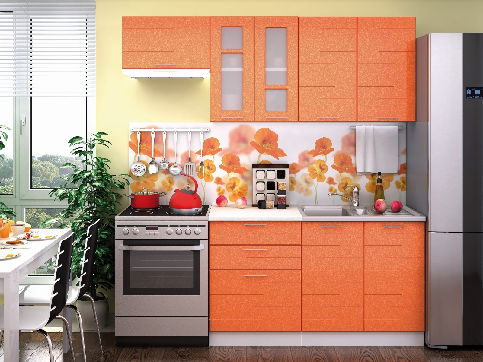 Smartshop Kuchyně TECHNO 140/200 cm, oranžová