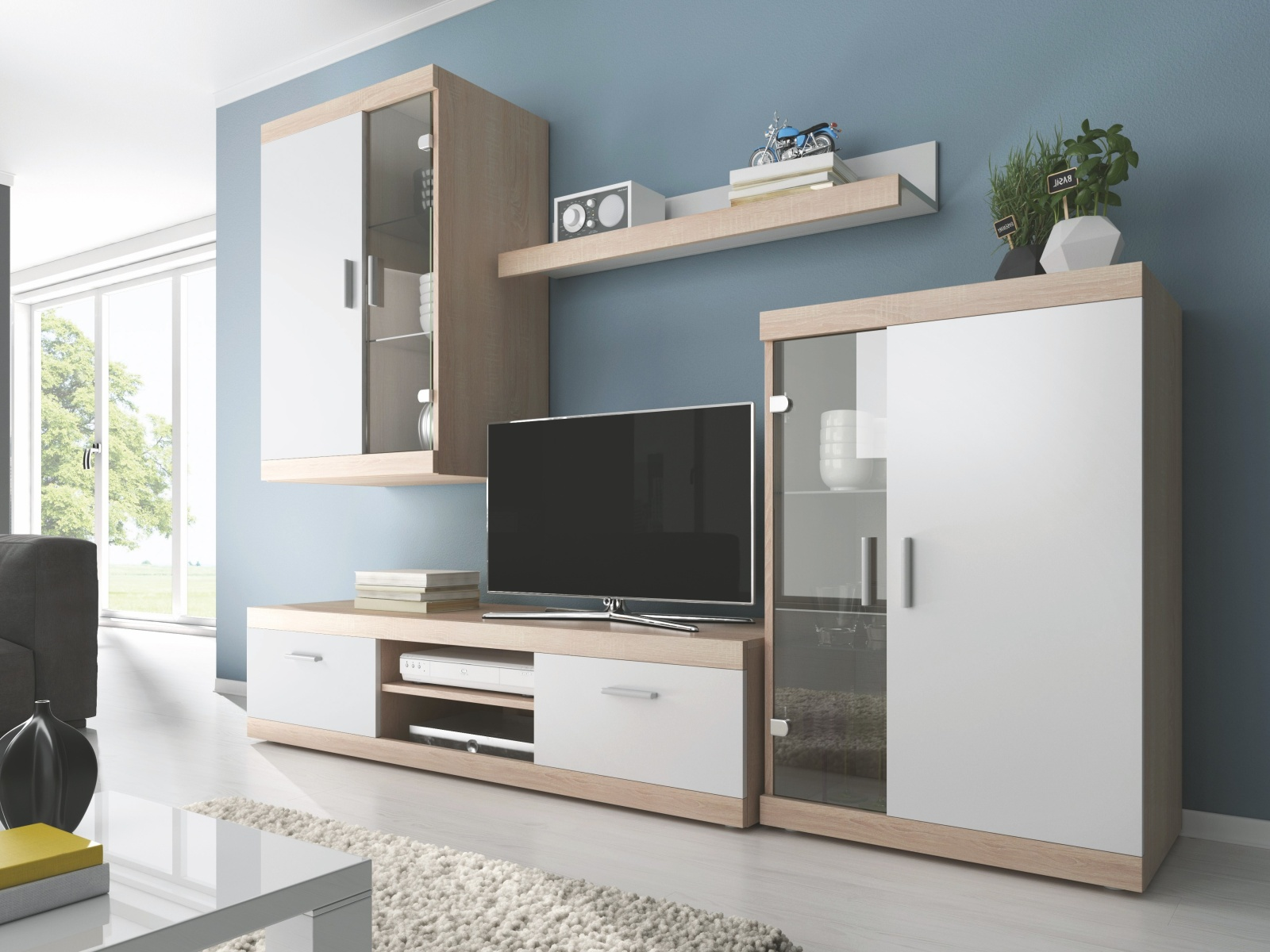Smartshop DUO obývací stěna, dub sonoma/bílá