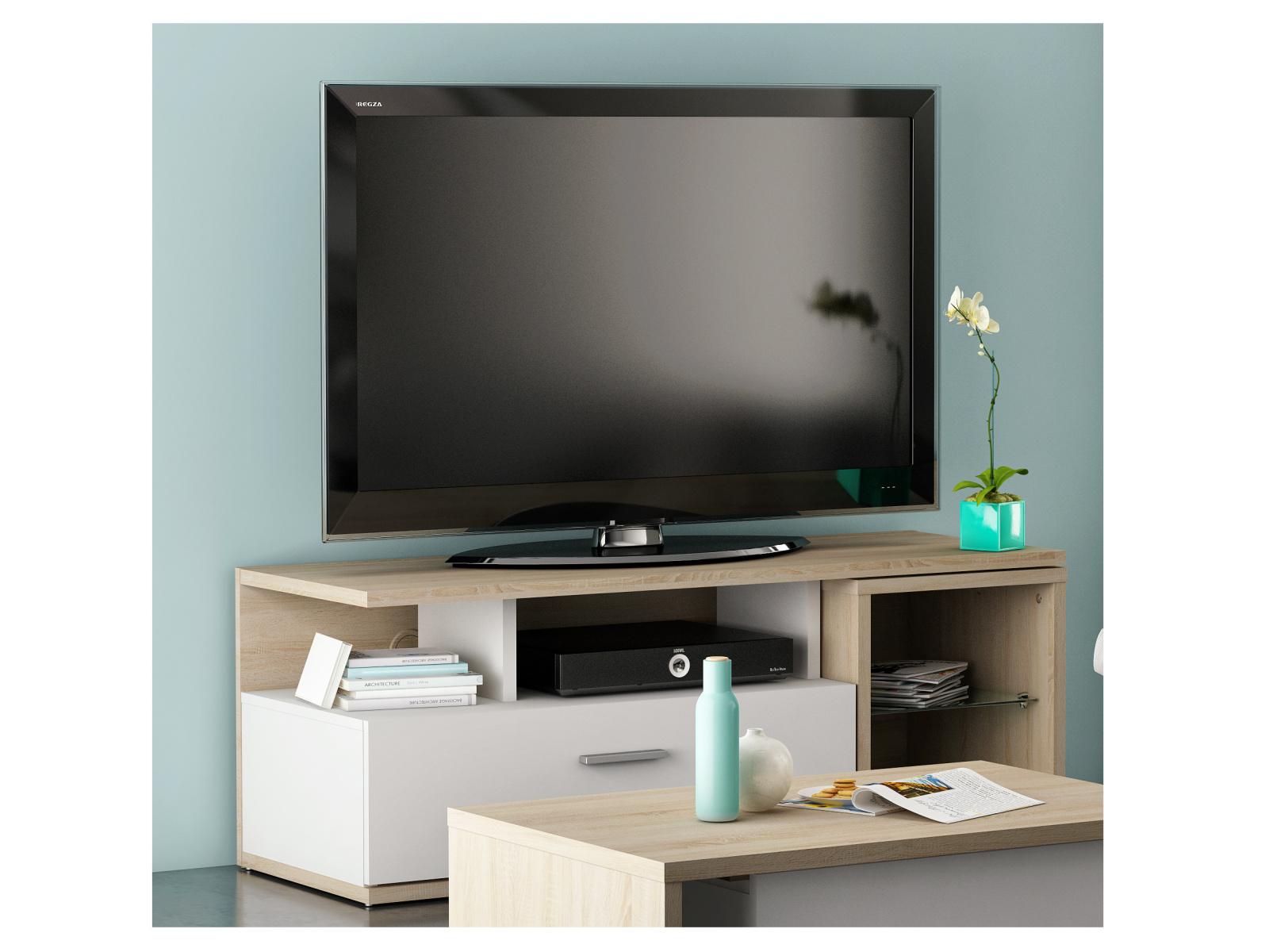 DEMEYERE MOVE TV stolek, dub sonoma/bílá