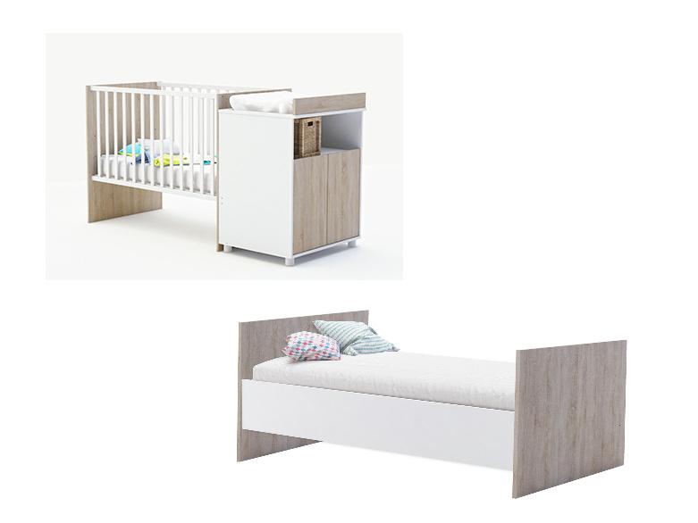 JOY rostoucí postel 60x120 a 90x200 cm, bílá/dub sonoma rostoucí postel 60x120 a 90x200 cm, bílá/dub