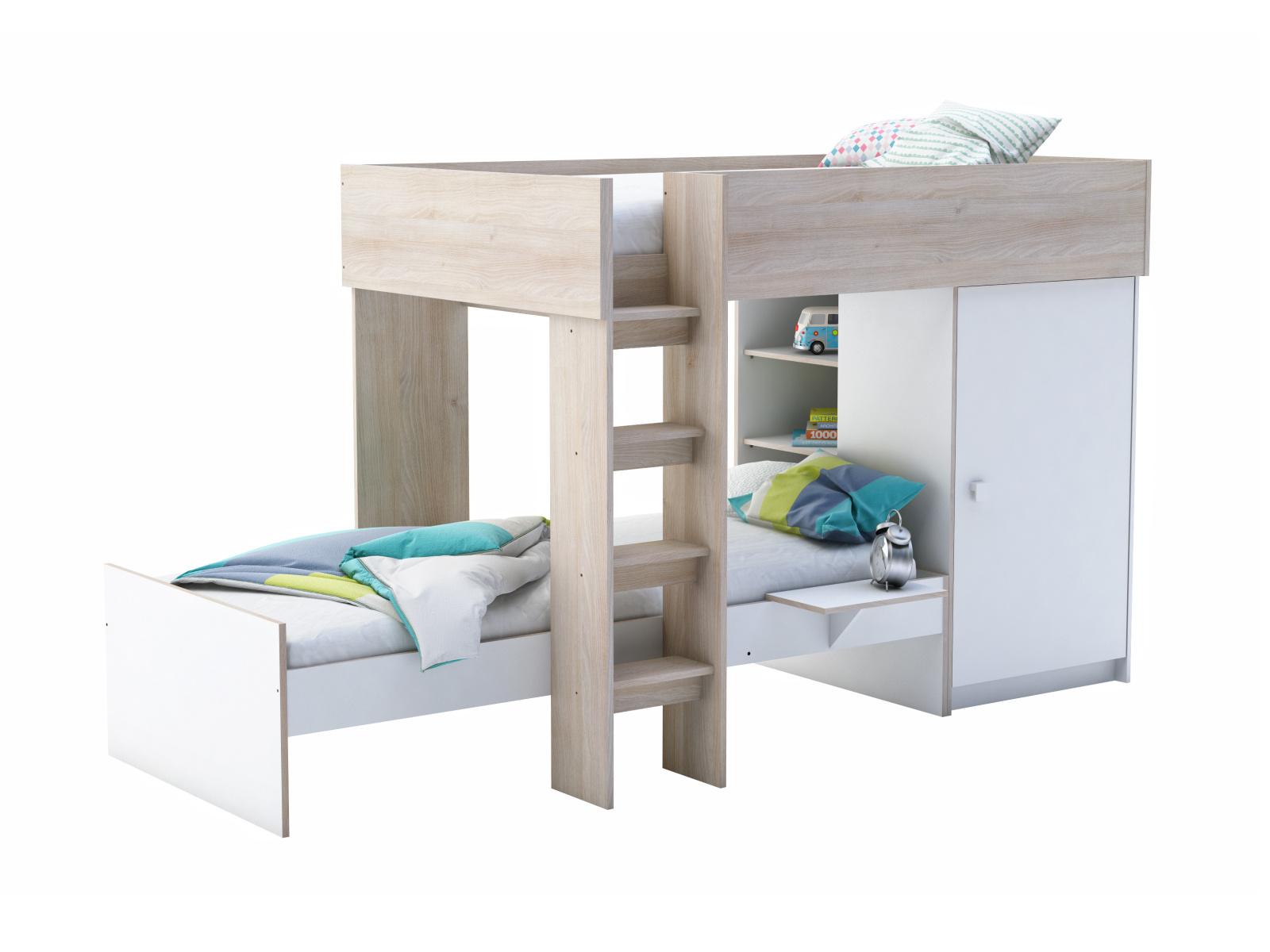 DEMEYERE TRANO patrová postel 90x200 cm, akát/bílá