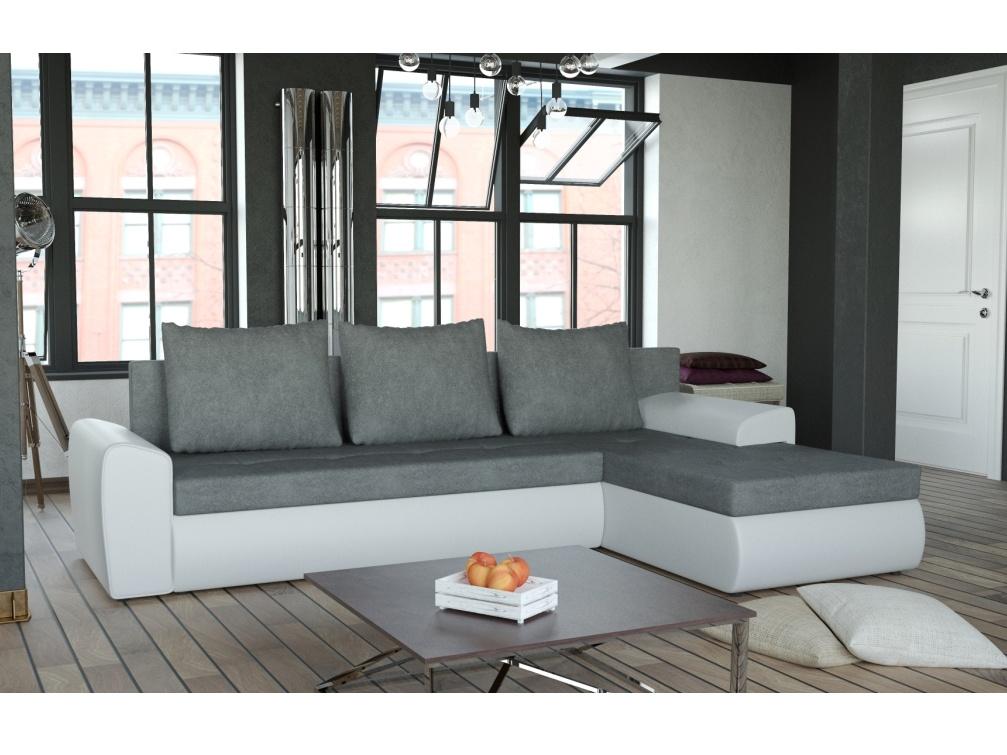 Smartshop Rohová sedačka TORRINO 1, šedá látka/bílá ekokůže