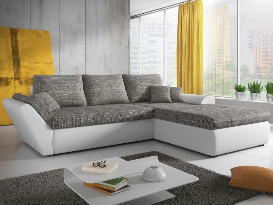 Smartshop Rohová sedačka KLOE 1, šedá látka/bílá ekokůže