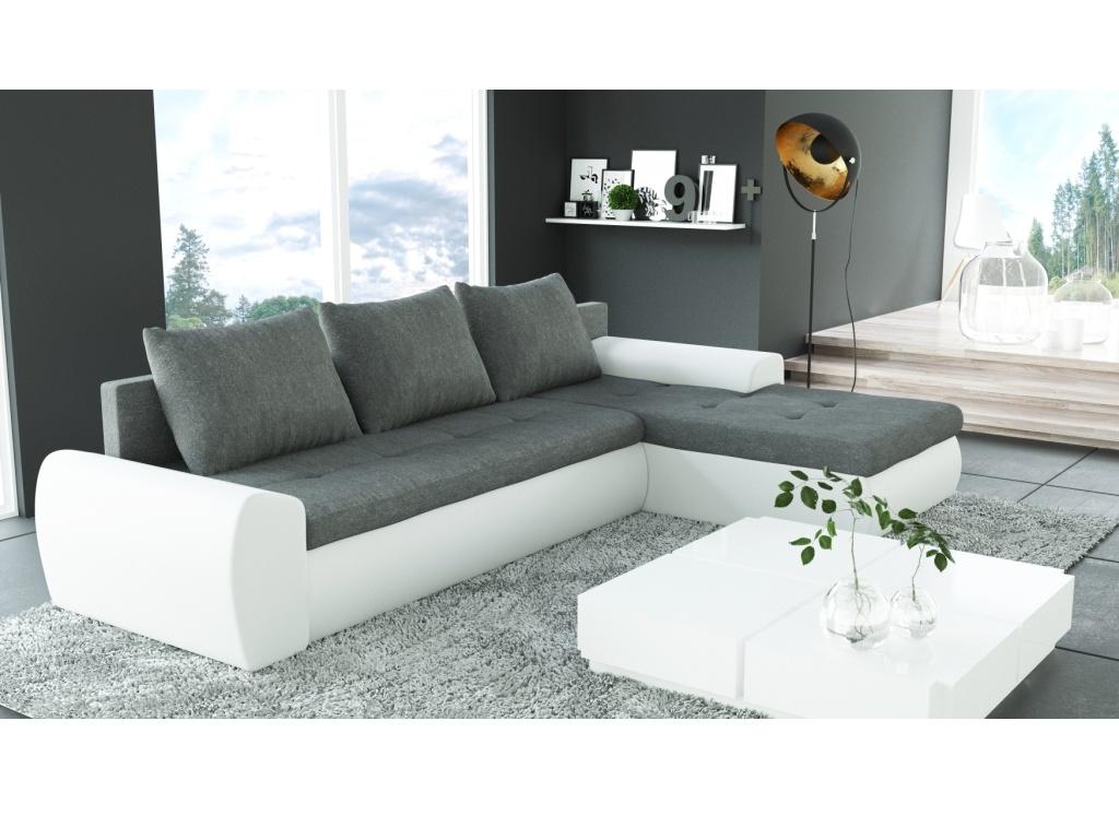 Smartshop Rohová sedačka MUGMA 2 jádro z PUR pěny, šedá látka/bílá ekokůže