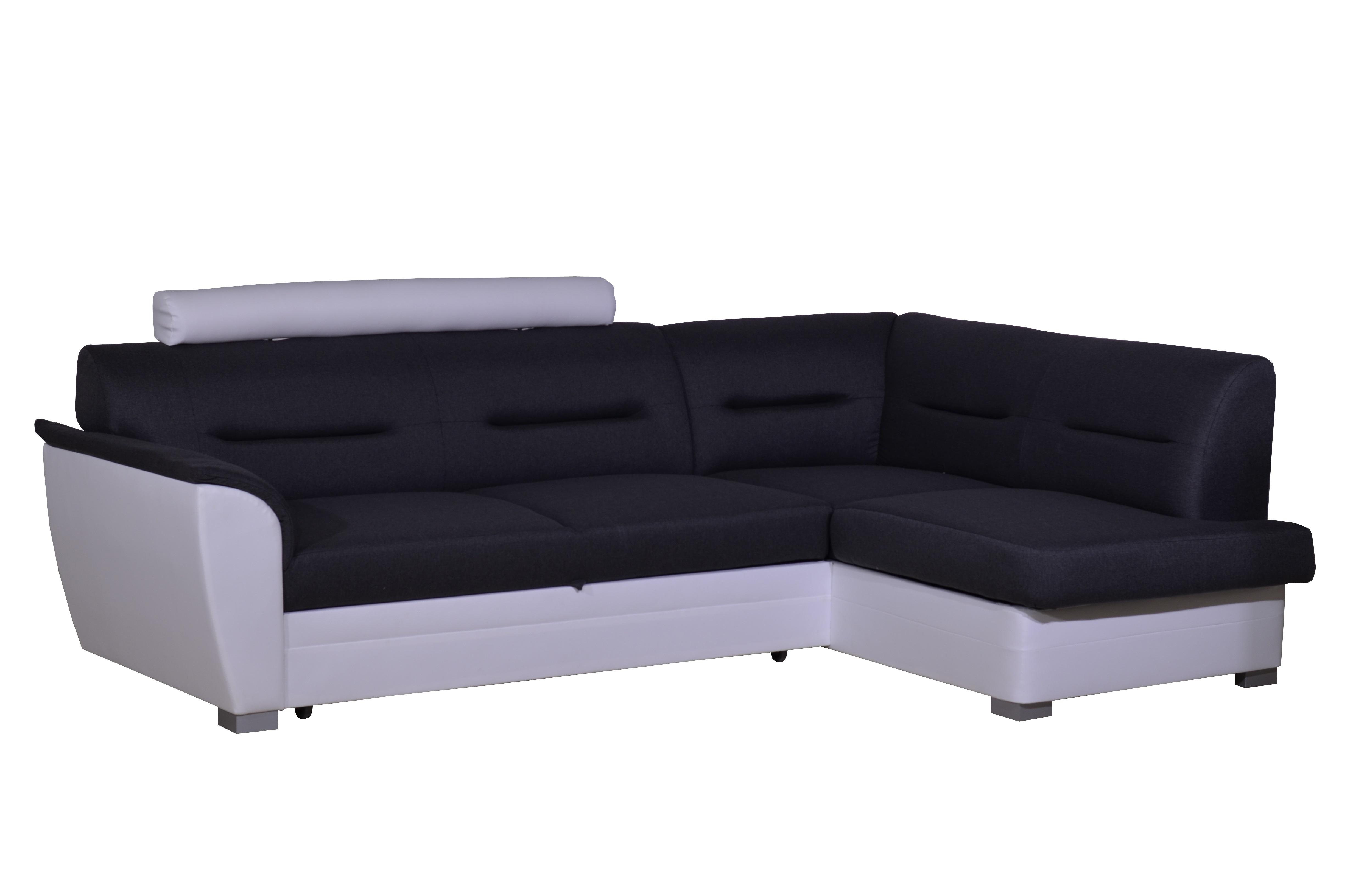 Rohová sedačka WILUNA se záhlavníkem, pravá, látka šedá/bílá ekokůže