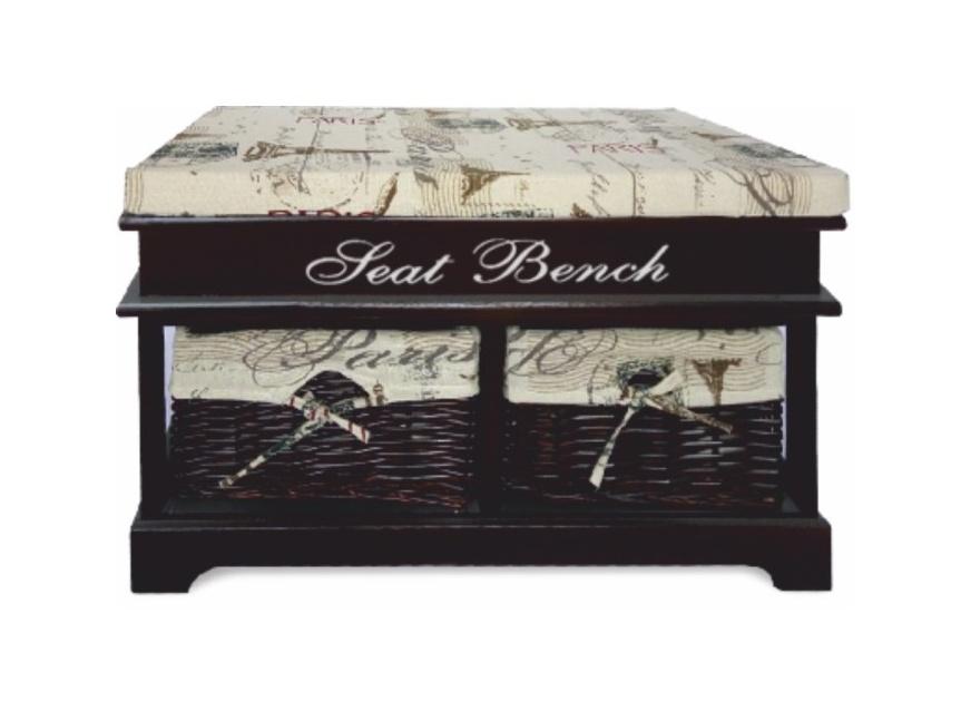 Tempo Kondela SEAT BENCH 3 NEW lavice s polštářem, béžová/tmavě hnědá