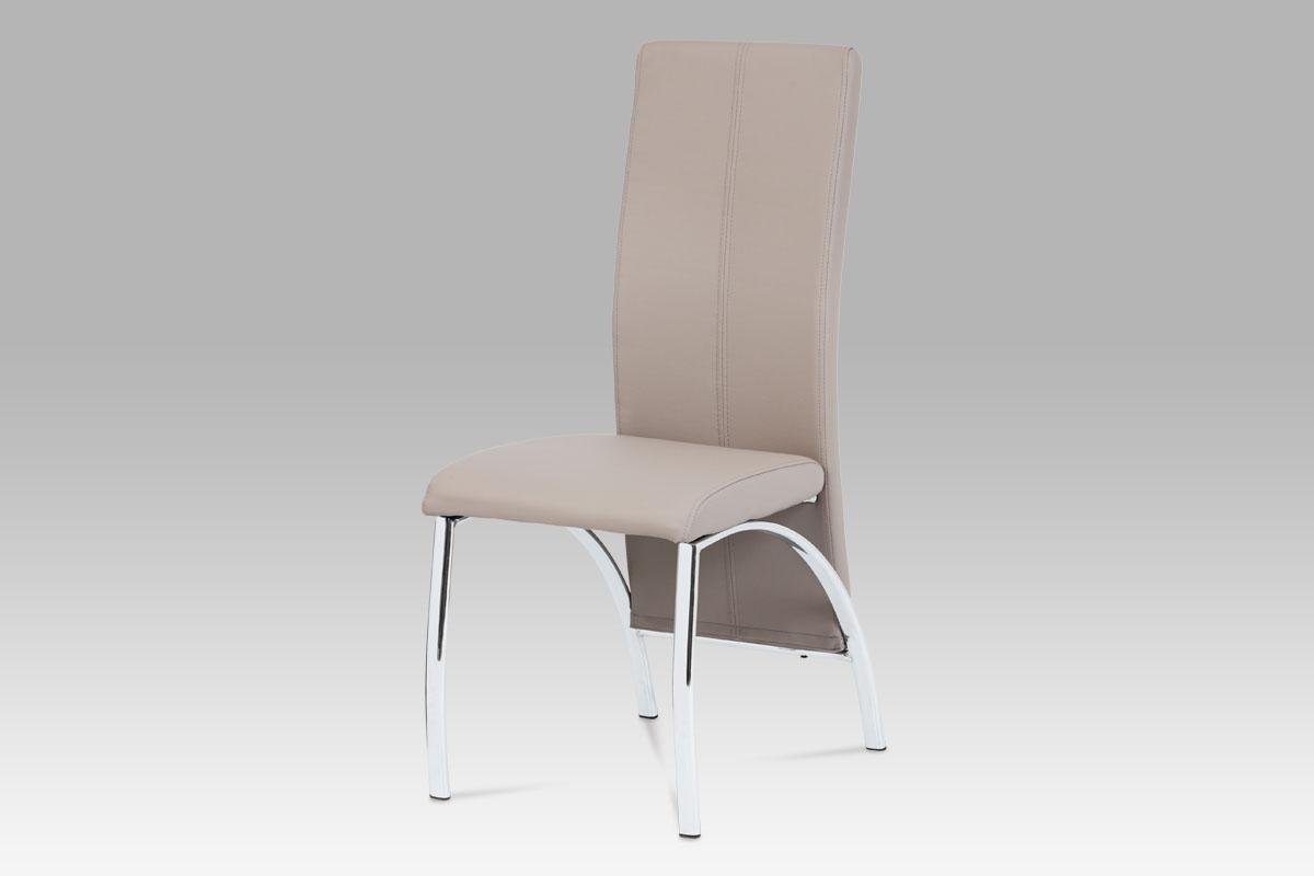 Autronic Jídelní židle AC-1060 LAN, koženka lanýž / chrom