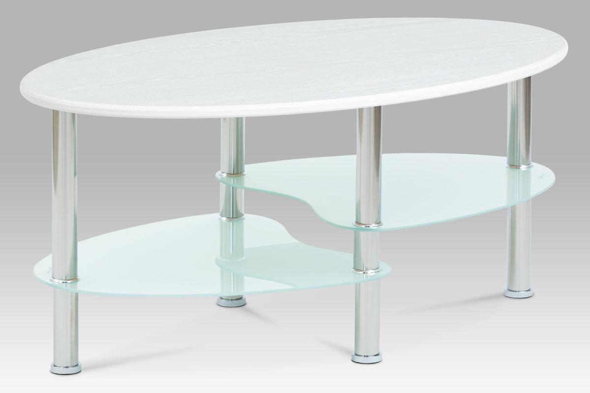 Smartshop Konferenční stolek CT-1180 WT, 3D folie vysoký lesk/mléčné sklo/leštěný nerez