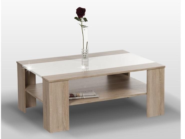 WOWONI konferenční stolek, dub sonoma/bílý lesk