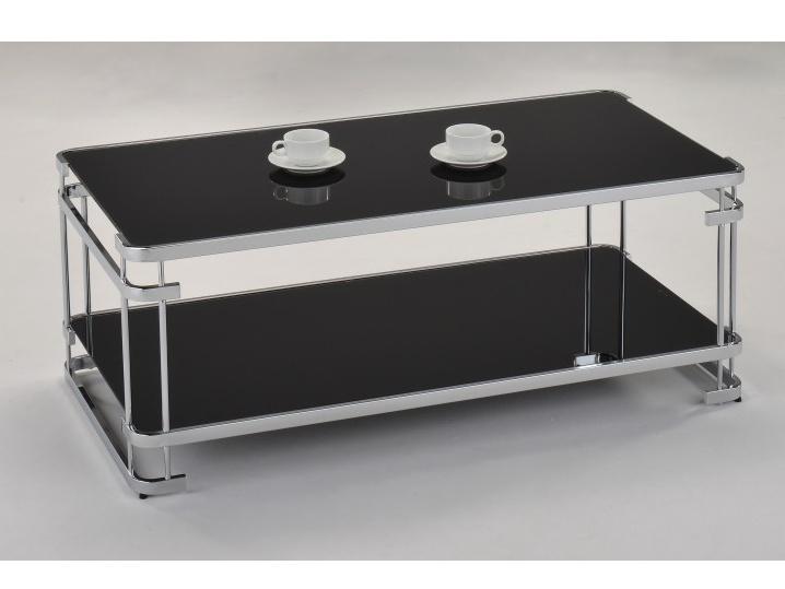 Tempo Kondela LONZO konferenční stolek, chrom/černé sklo