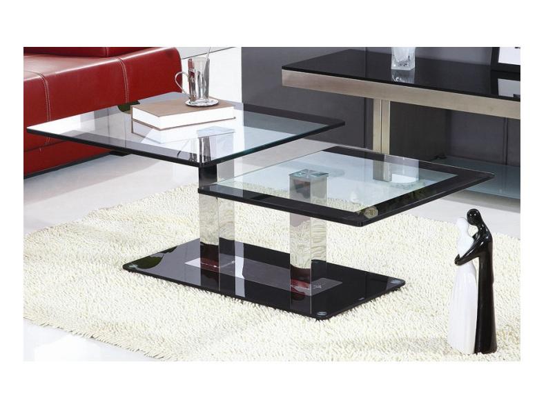 SEBATIK konferenční stolek, ocel/sklo