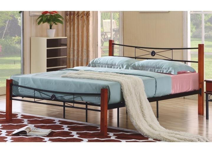 Tempo Kondela AMARILO manželská kovová postel s roštem 180x200 cm, třešeň