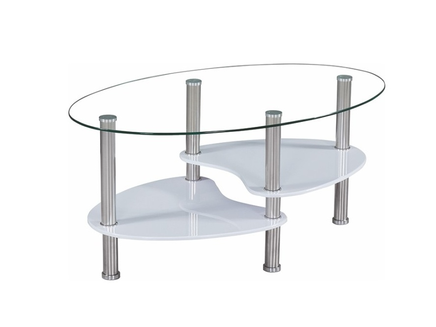 BULAN konferenční stolek, ocel/sklo