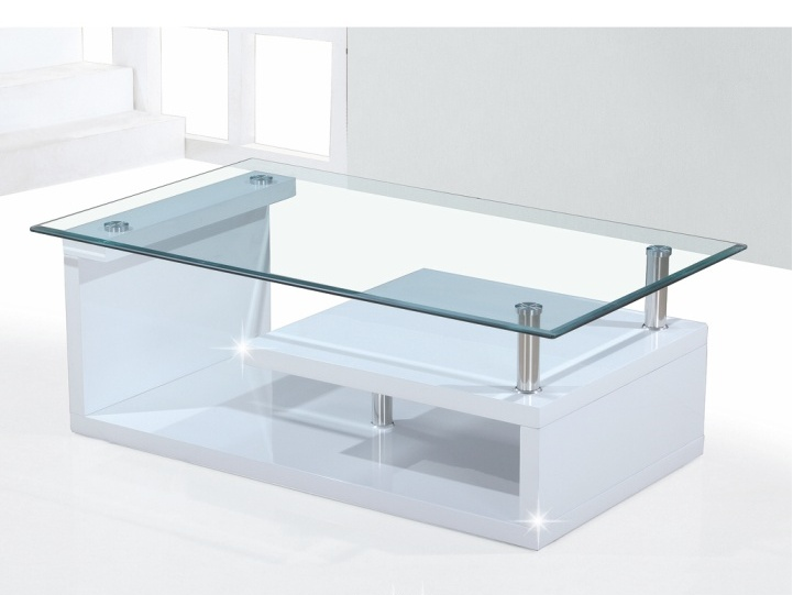 Tempo Kondela JULIEN konferenční stolek, sklo/bílý lesk