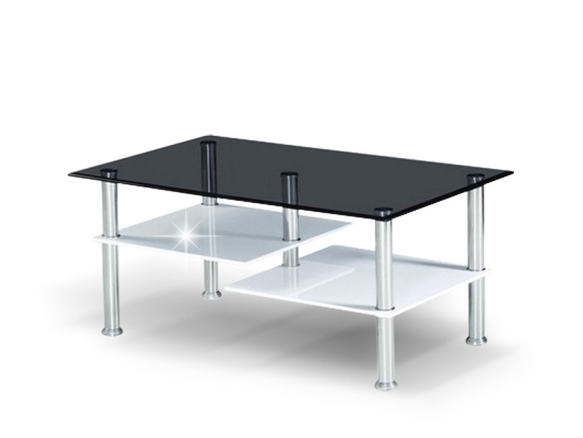 TRIVIR konferenční stolek, ocel/sklo