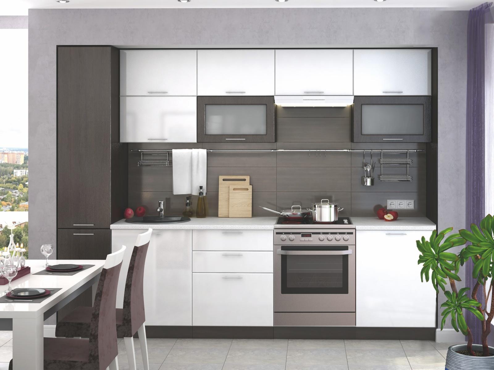 Smartshop Kuchyně VALERIA 180/240 cm s pracovní deskou, bílá/wenge DOPRODEJ