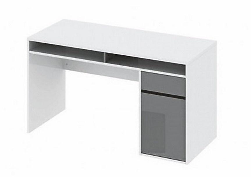 Smartshop Psací stůl AGENT bílý lesk/černý lesk