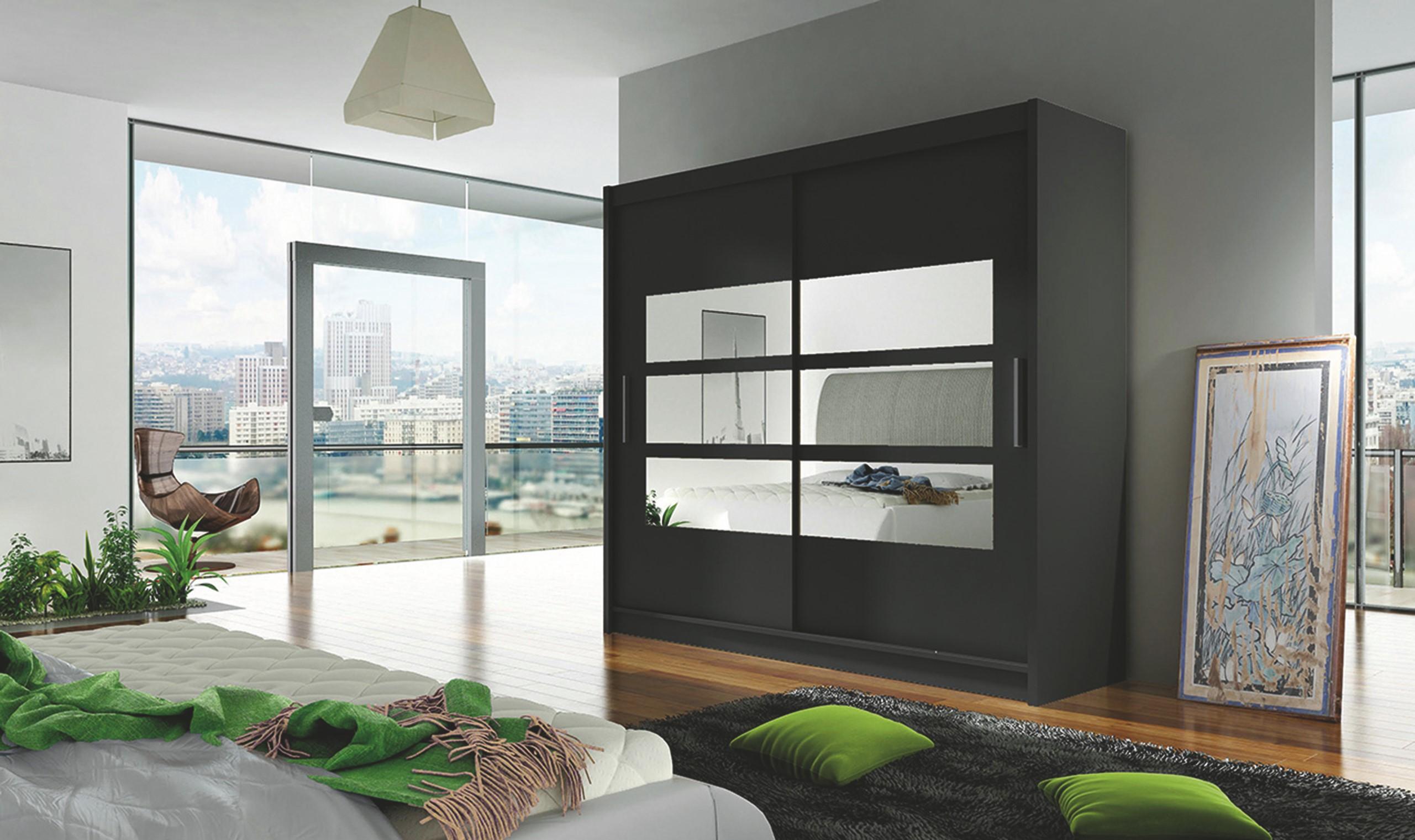Smartshop Šatní skříň BEGA III černá se zrcadlem