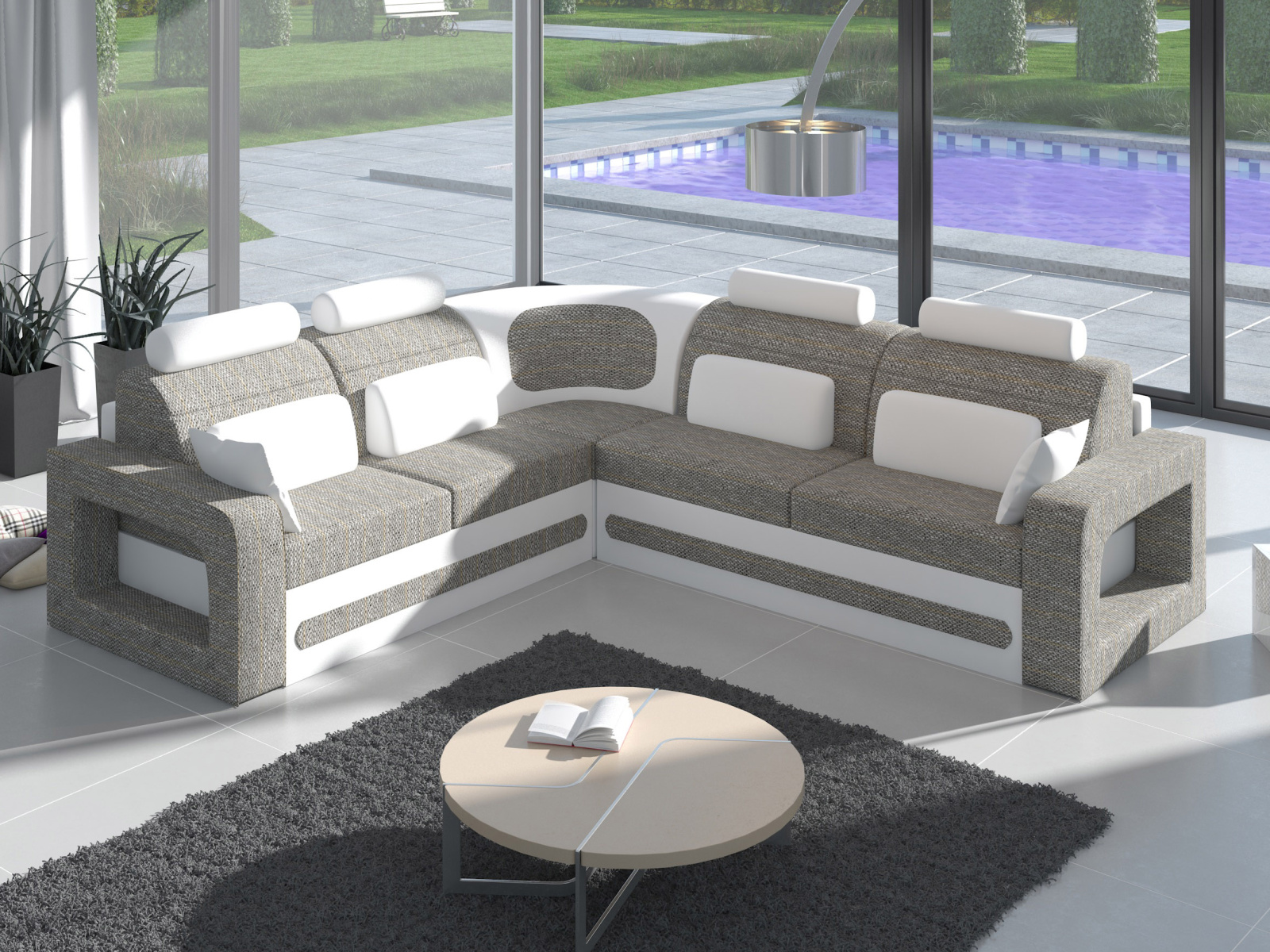 ELTAP Rohová sedačka BERGAMO 08 pravá, šedá látka/bílá ekokůže
