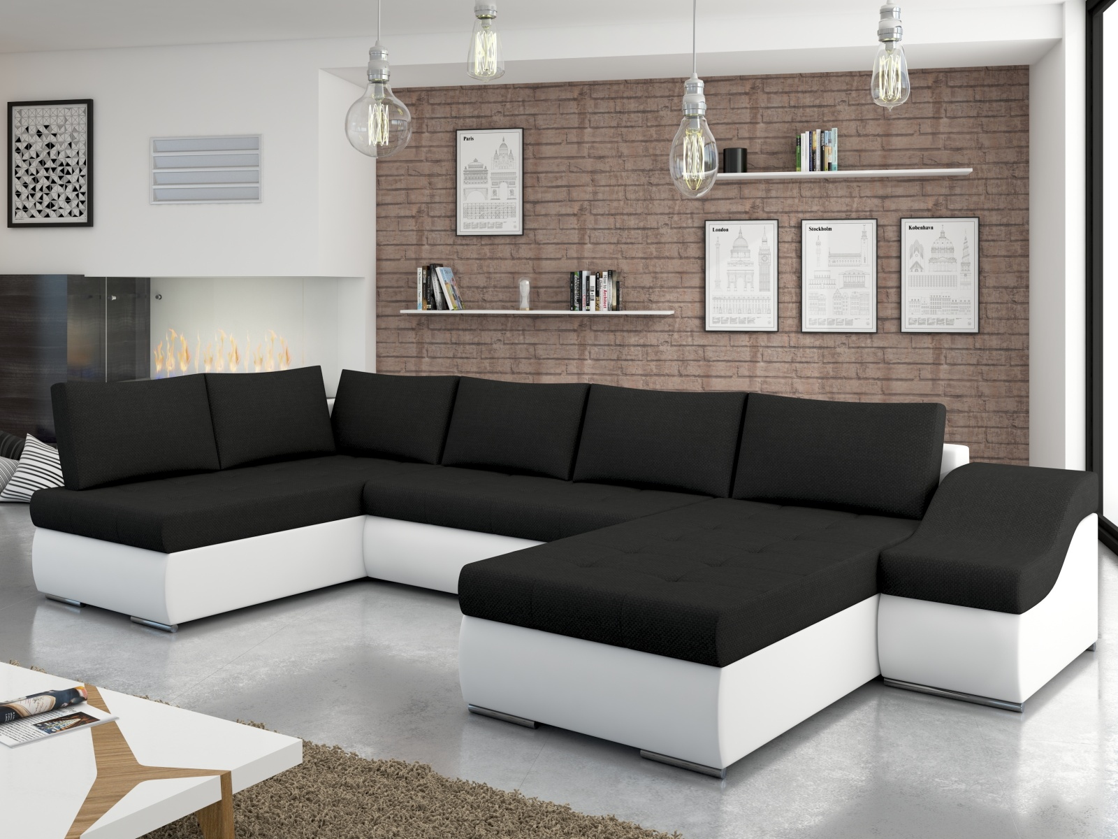 ELTAP Rohová sedačka GIOVANNI 02, černá látka/bílá ekokůže