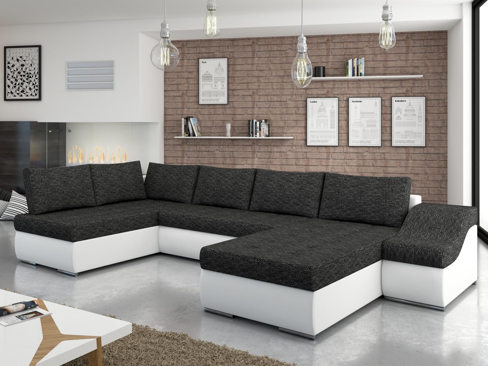 ELTAP Rohová sedačka GIOVANNI 05, černá látka/bílá ekokůže