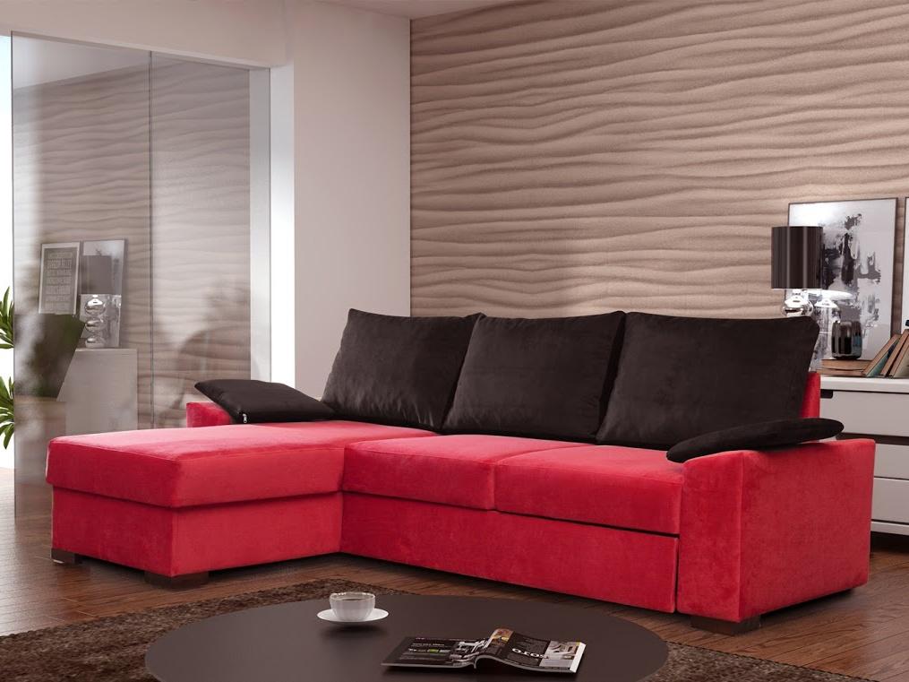 ELTAP Rohová sedačka LUSSO 10 levá, červená látka/černá látka