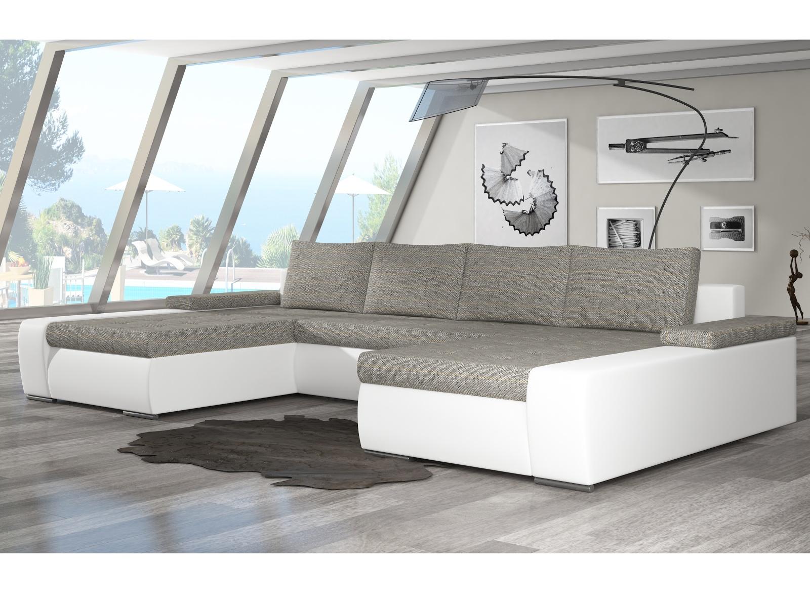 ELTAP Rohová sedačka MARINO 04, šedá látka/bílá ekokůže