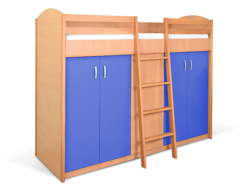 MATIS Patrová postel se skříní K2ORM, buk/modrá