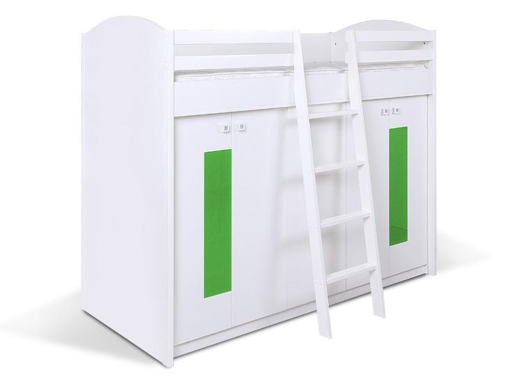 MATIS Patrová postel se skříní K2ORM, bílá/zelená