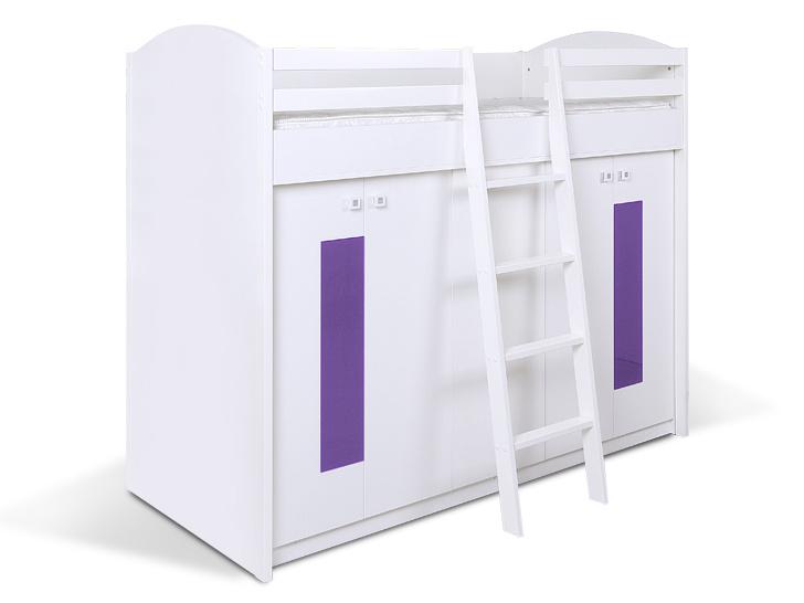MATIS Patrová postel se skříní K2ORM, bílá/fialová