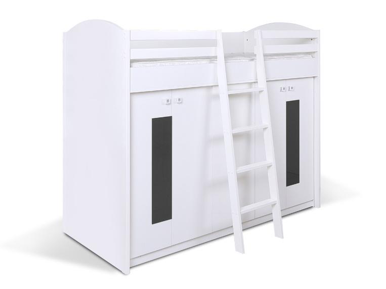 MATIS Patrová postel se skříní K2ORM, bílá/šedá